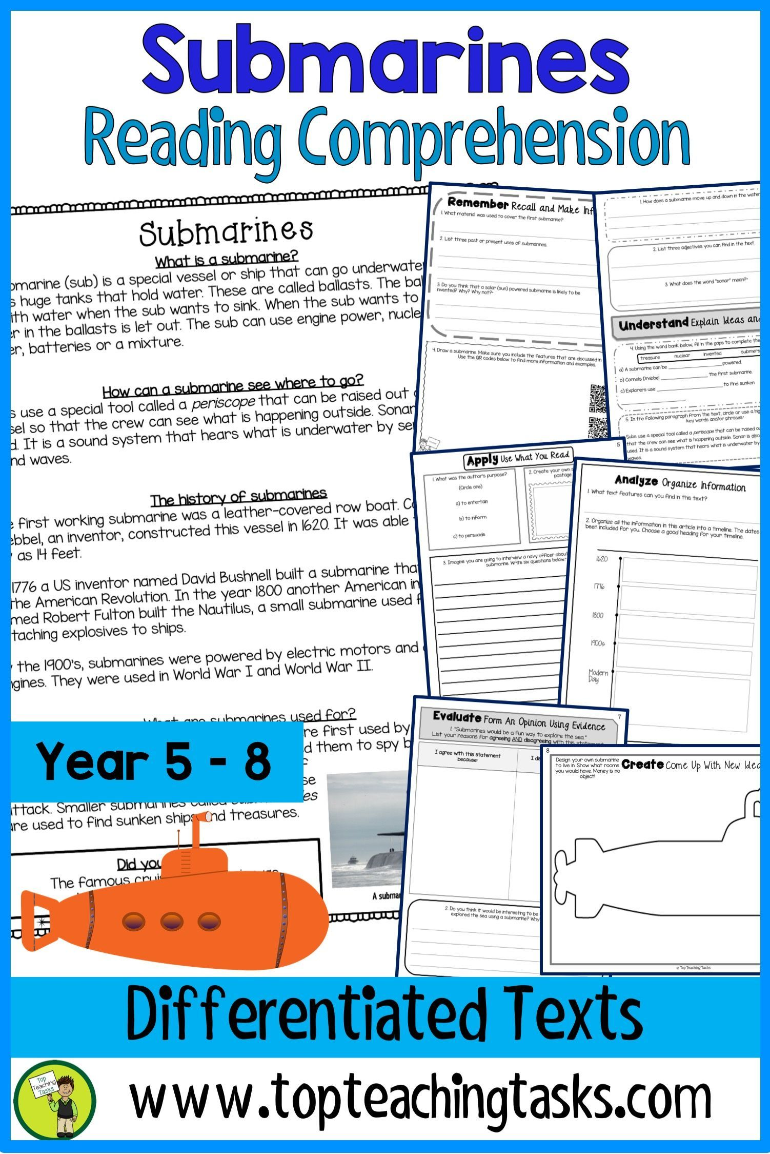- Submarines Reading Comprehension Passages And Questions Reading