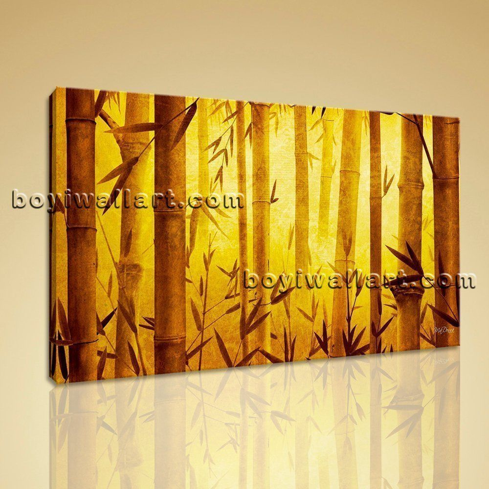 Large original abstract feng shui painting giclee print bamboo zen