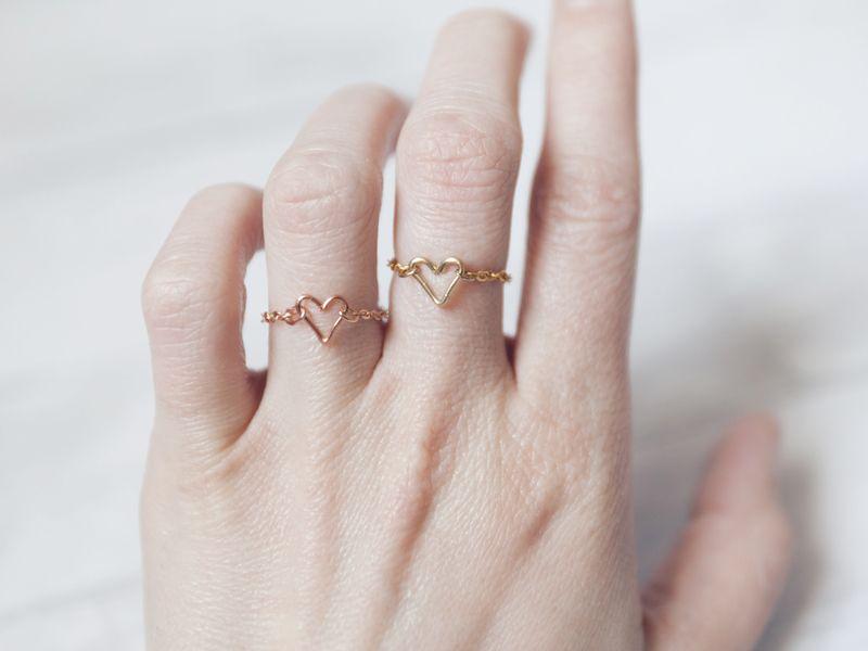Rosévergoldeter Ring Herz Kettenring Unikat | Ketten, Armbänder und ...