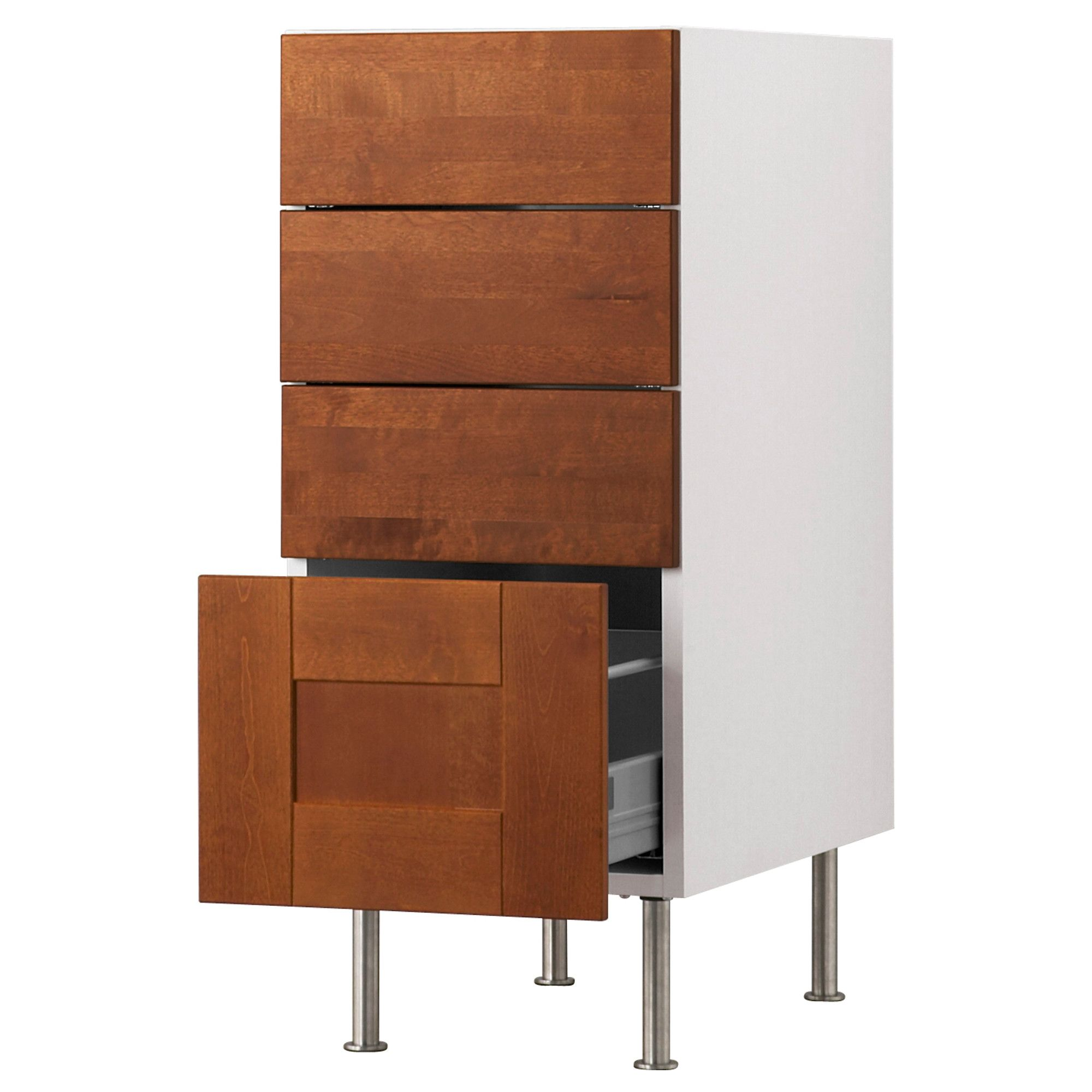 "AKURUM Base cabinet with 4 drawers - birch effect, Ädel medium brown, 15 "" - IKEA  BASE/OVEN/ UTENSILS"
