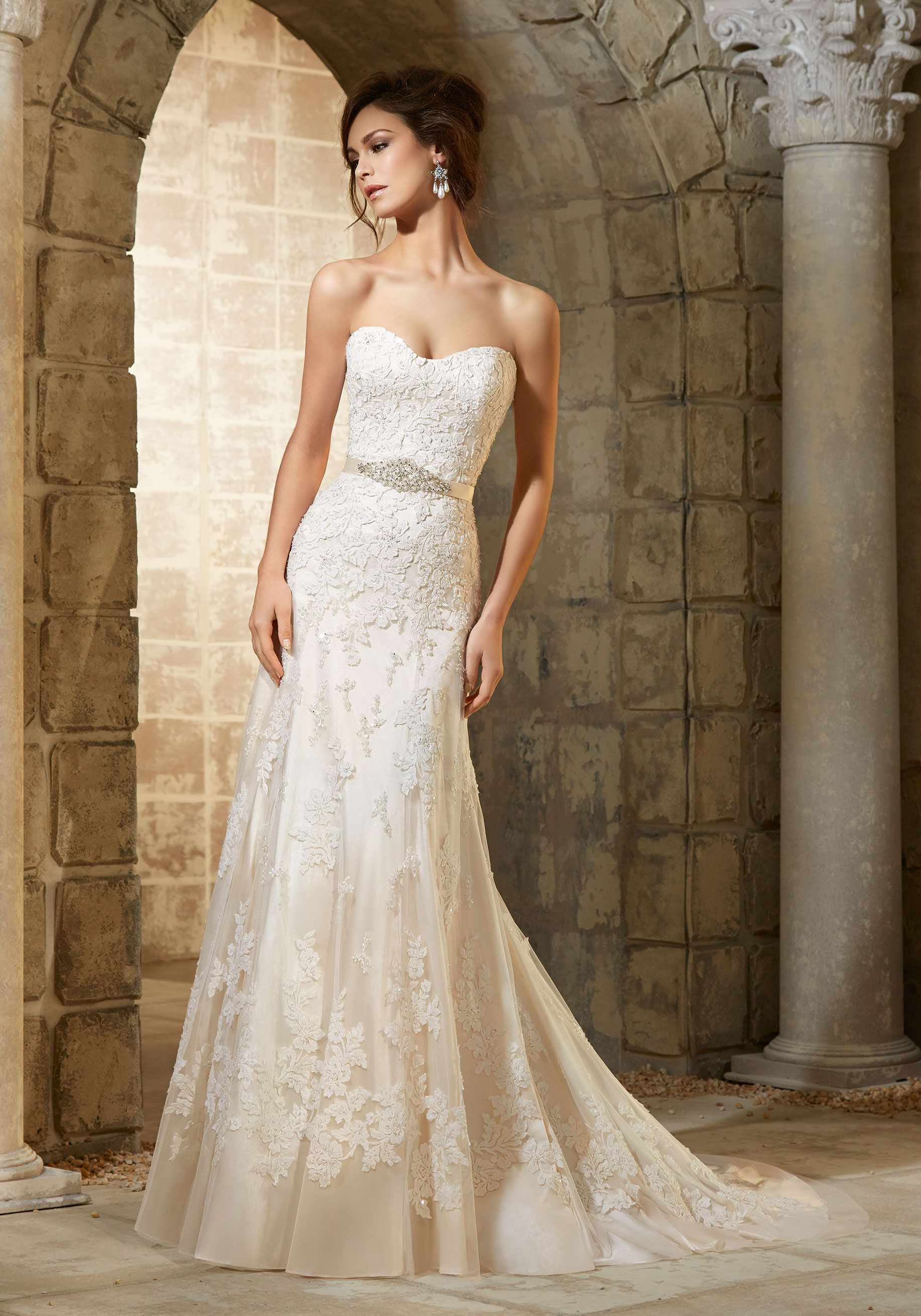 Wedding Dresses and Bridal Gowns by Morilee designed by Madeline Gardner. Delicate Beading on Embroidered Appliqués Mori Lee Bridal Wedding Dress