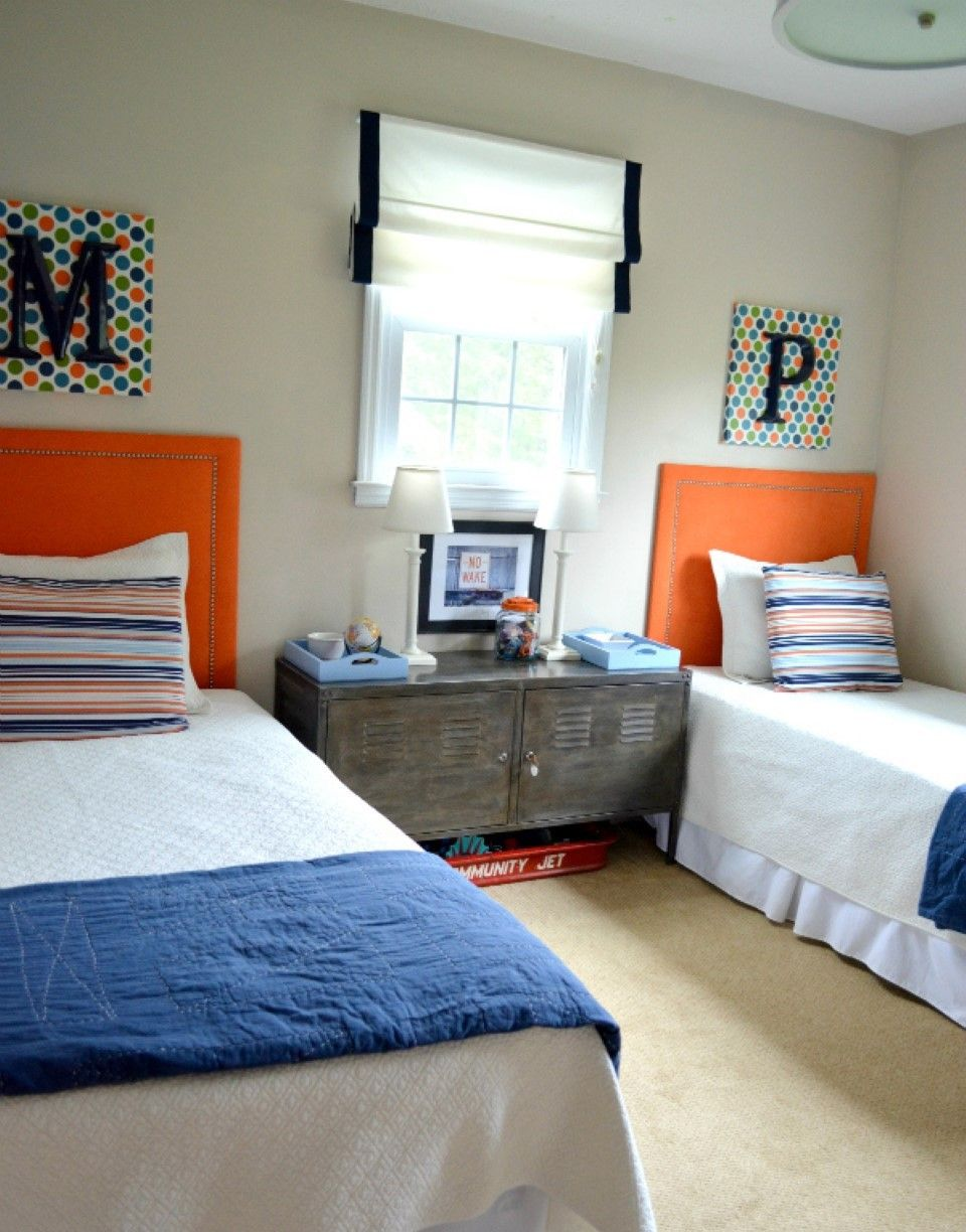 shared bedroom design ideas. Romanian Blind Style Idea In Simple Boys Shared Bedroom Feat Orange Upholstered Headboard And Rustic Cabinets Image Compact Design Ideas A