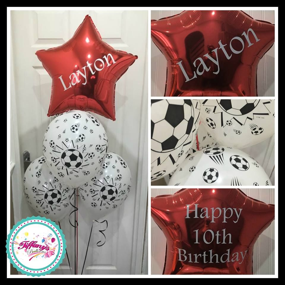 4 Balloon Bouquet with Personalised Foil Topper - Football Theme