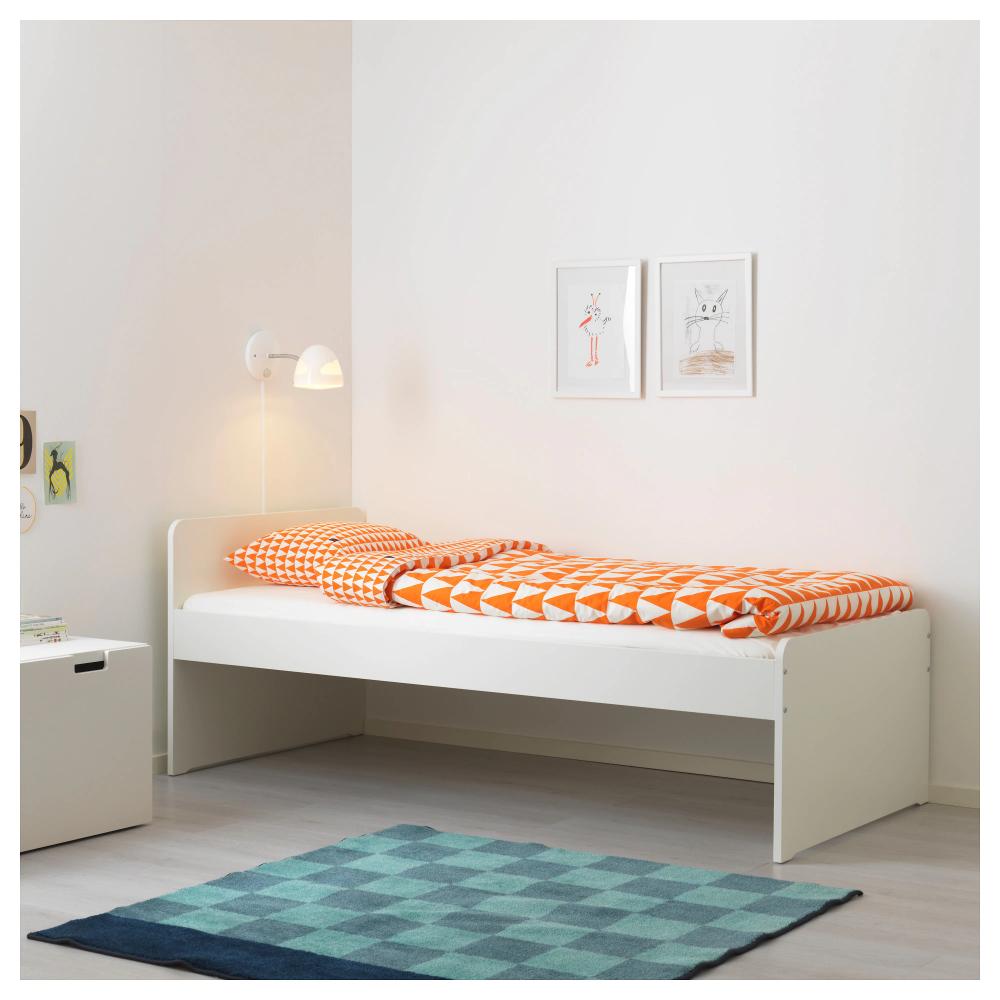 Slakt Cadru Pat Somieră Alb 90x200 Cm Ikea Bed Frame White Bed Frame Single Bed Frame