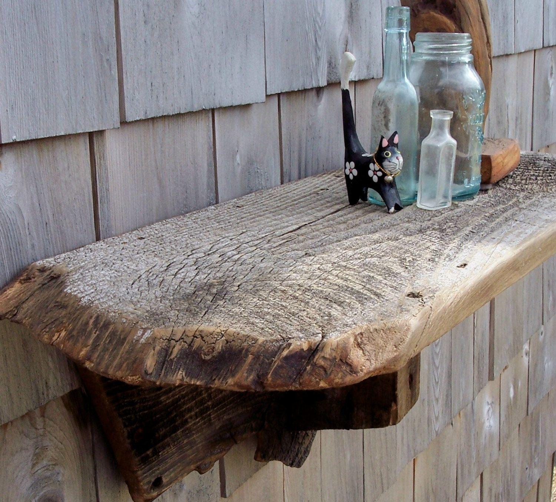 Reclaimed barnwood shelf Wall mounted one of a kind wood display