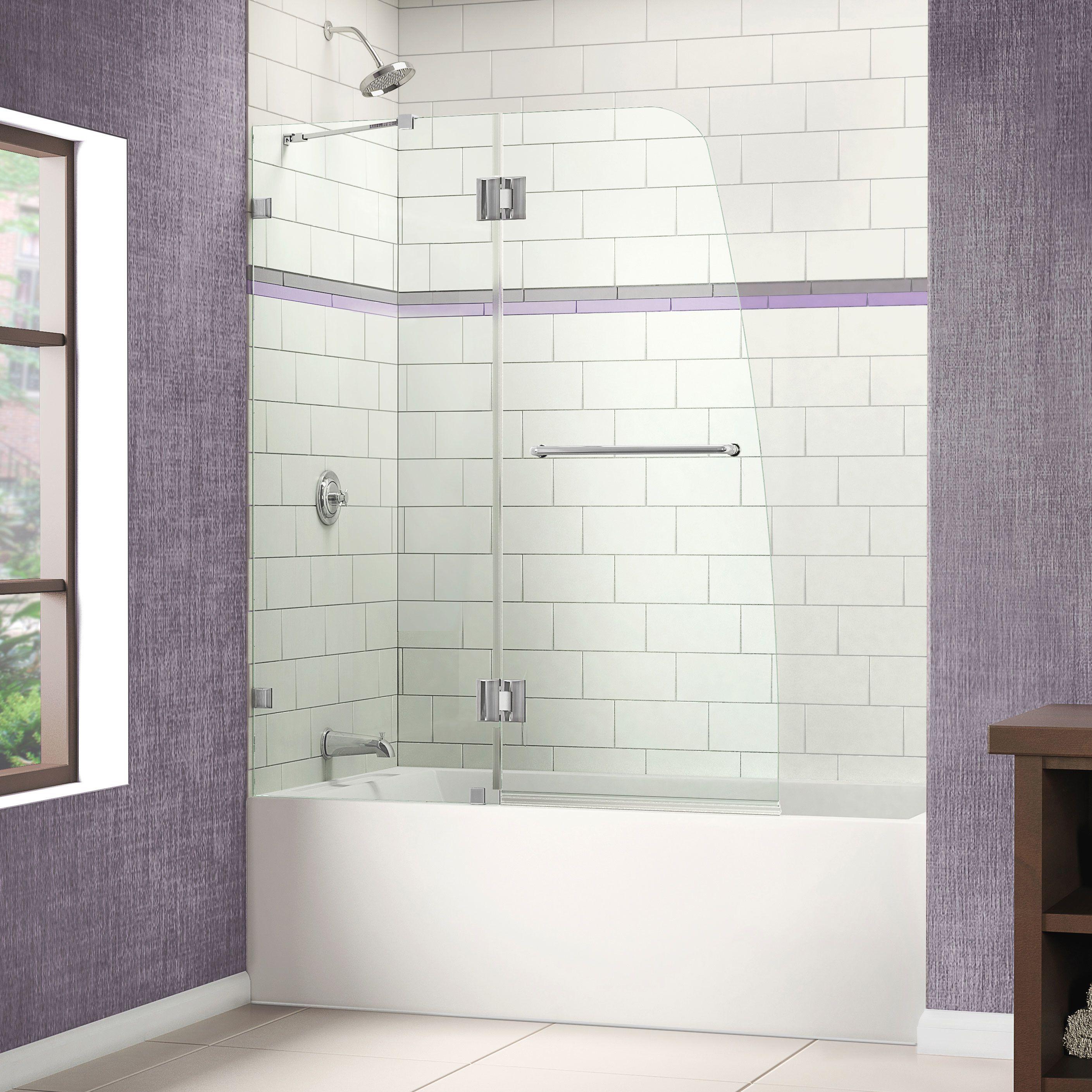 "DreamLine AquaLux 58"" x 48"" Pivot Frameless Hinged Tub Door"