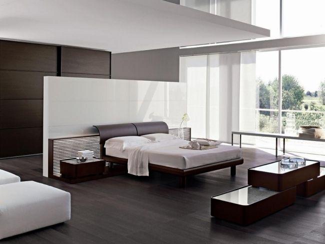 wohnideen für schlafzimmer minimalistisch schwarz weiß