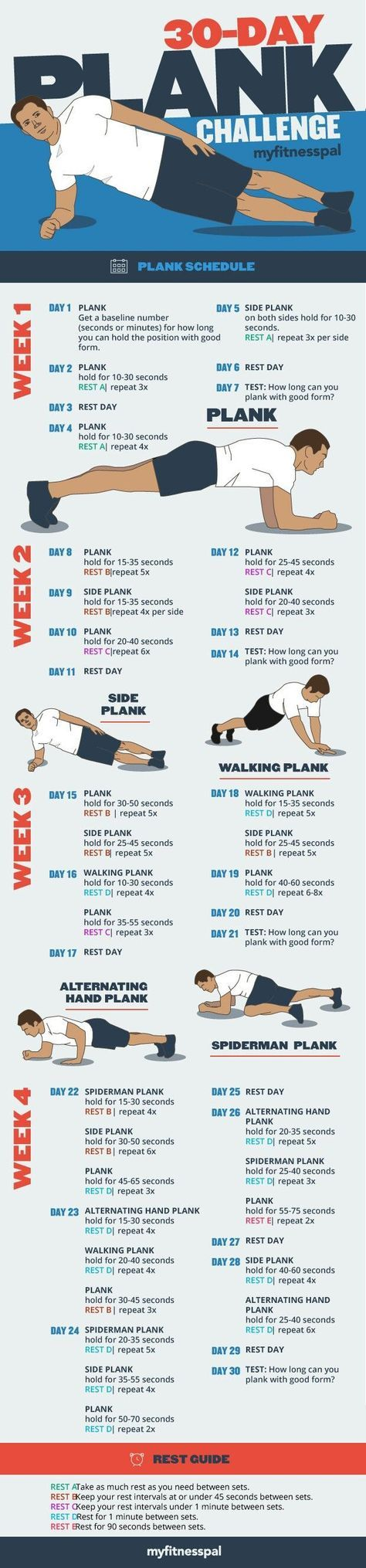 30 Day Plank Challenge! I did this challenge and i started seeing results in my tummy fat each week. I did have a little difficulty doing the spider man plank so i just substituted it with each plank before that one. I challenge each of you to challenge yourself and see if it works for you as well! I was also dieting at the time, but (if you're trying to lose weight) who isn't?! I hope this helps you out as much as it has helped me. I received it in an email from MyFitnessPal. It's a wonderf #fitnesschallenges