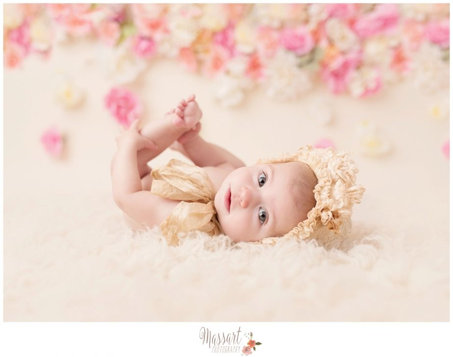Baby photography diy flower wall in studio by massart photography www massartphotography com