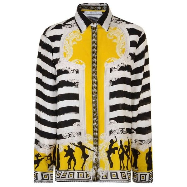 1a79ebc67e41 VERSACE COLLECTION Printed Silk Blouse (€230) ❤ liked on Polyvore featuring  tops, blouses, loose fit blouse, white top, loose fitting tops, versace top  and ...