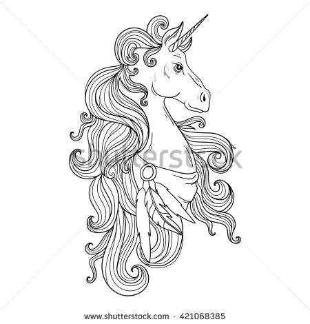 Fairytale vector unicorn Hand drawing Unicorn for adult anti stress - copy coloring pages of barbie a fashion fairytale