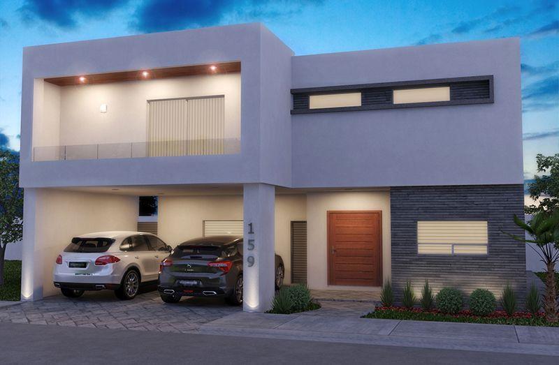 Fachada de casa moderna doble cochera fachadas for Ingreso casas modernas