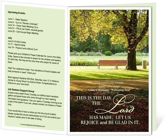 Church Bulletin Templates  Park Church Bulletin Template With