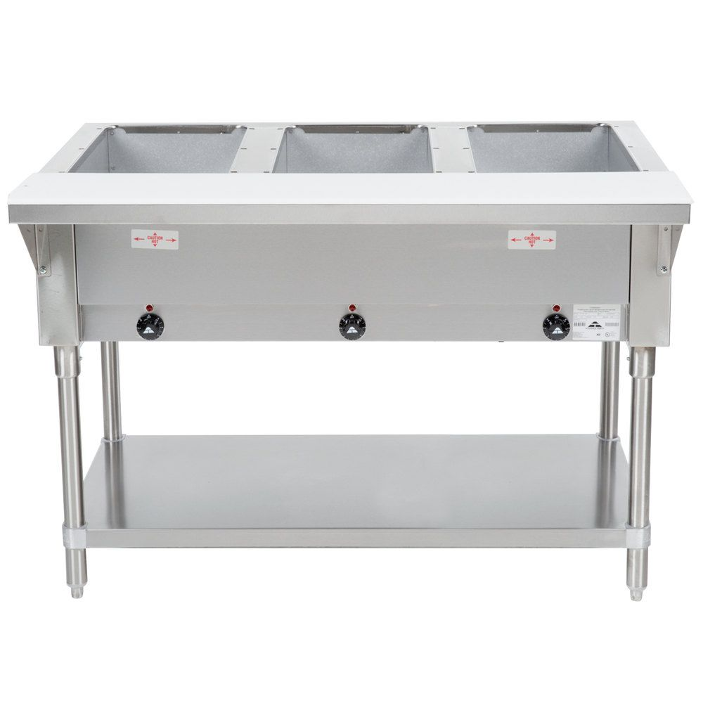 Advance Tabco HF 3 E Three Pan Electric Steam Table With Undershelf   Open