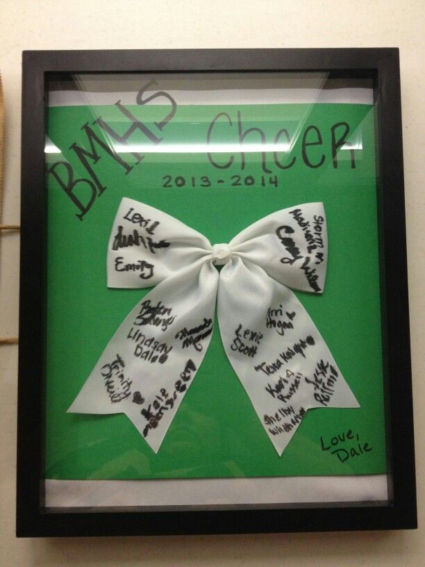 Autograph cheer bow and shadow box Lindsay and I made for the ...