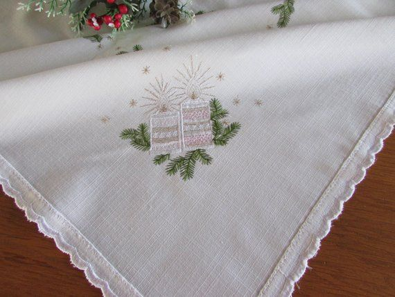 """Christmas Candle Poinsettia Embroidery Tablecloth Fabric Topper 54x54/"""" Square"""