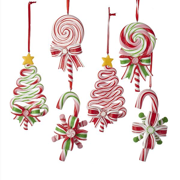 candy cane and lollipop christmas ornament s set 6 5 inches - Lollipop Christmas Decorations