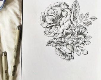 9a7c91fde Peonies + Roses Botanical Floral Hand Drawn Pen and Ink Illustration ...
