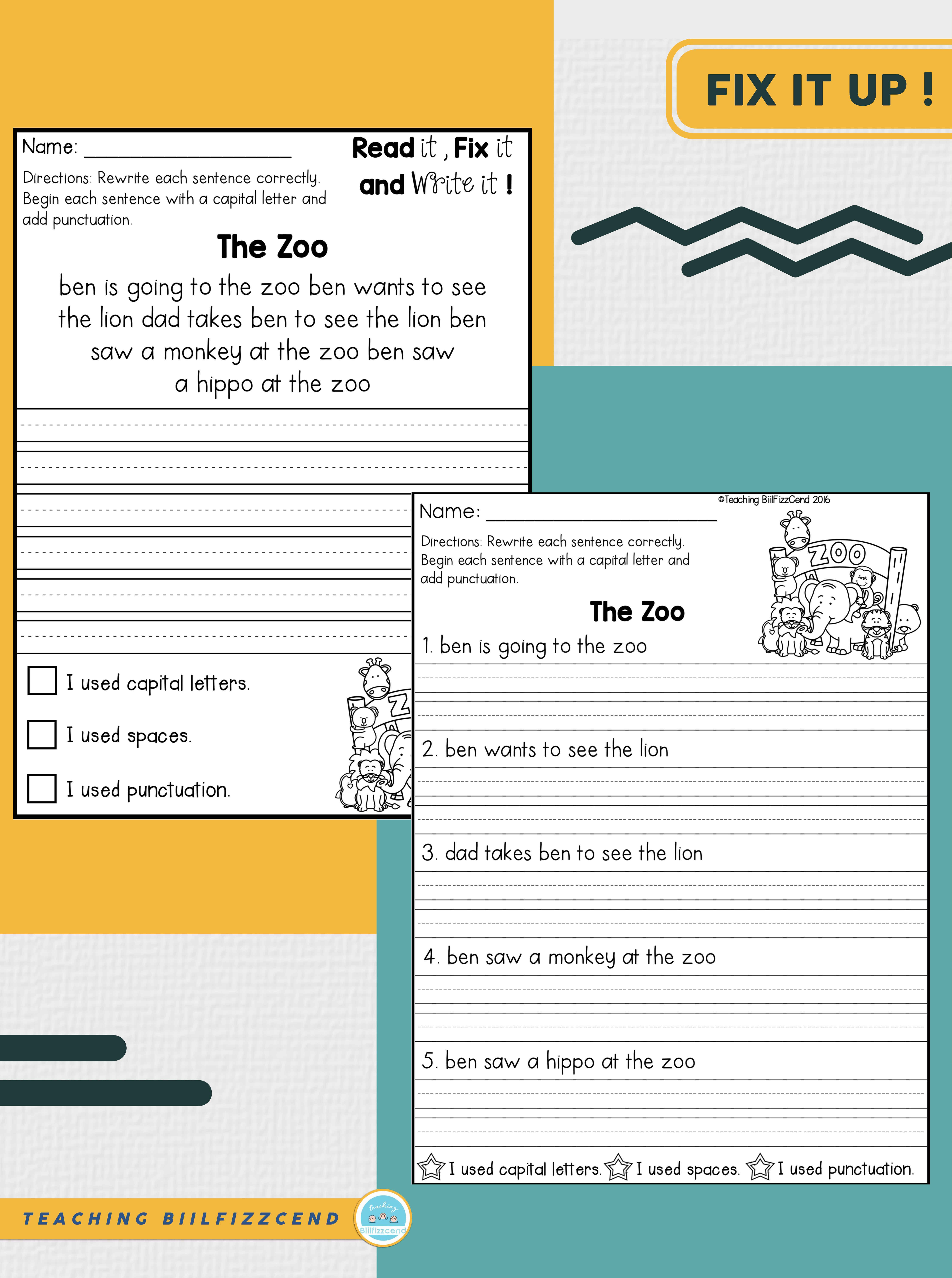 Missing Punctuation Paragraph Worksheets   Printable Worksheets and  Activities for Teachers [ 7229 x 5386 Pixel ]