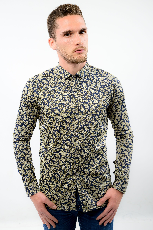 vieilli foncé hommes Une pour bleue chemise belle or très imprimé UU0Ivx6q 34fa8d090c2