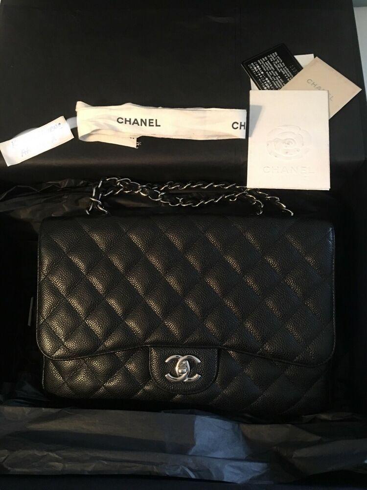 80c8ba9b0372 Authentic CHANEL Jumbo Black Caviar Classic Single Flap Bag w/Silver  Hardware