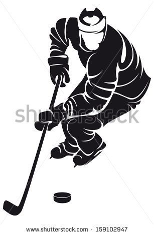 Hockey Player Silhouette Stock Vector Hockey Players Hockey Pictures Hockey Team Gifts