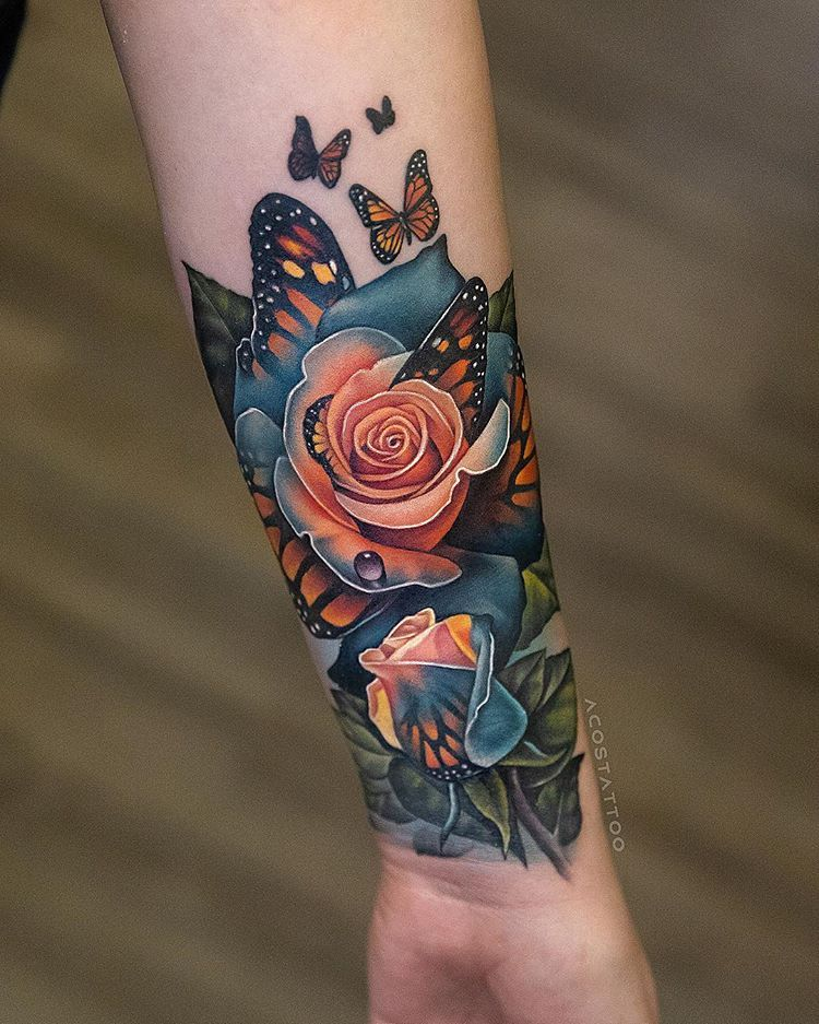 Did this butterfly rose, covering up an old tattoo on the