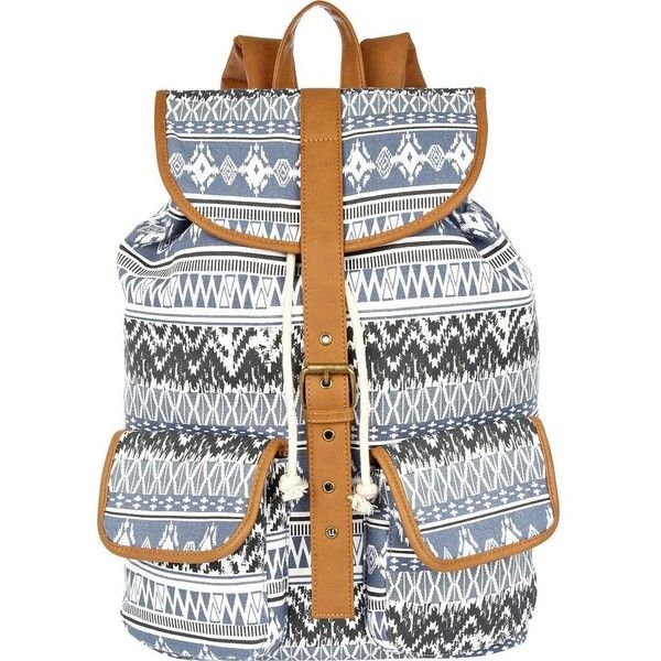 a91dde2fbf9d River Island Blue tribal print rucksack found on Polyvore featuring ...