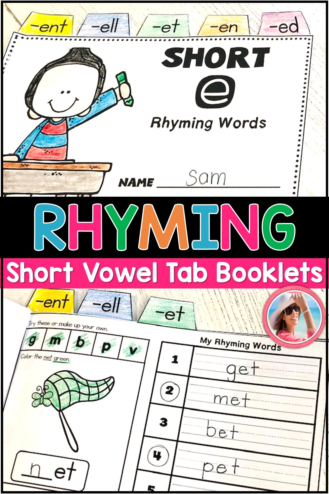 Rhyming Words Tab Books For Short Vowels