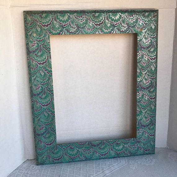 Vintage Wood Picture Frame 11 X 14 Inch Paper Wrapped Purple And Blue Wooden Frame Wood Picture Frames Picture Frames Picture On Wood