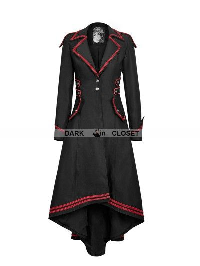 Punk Rave Black and Red Gothic Military Uniform Long Coat for ...