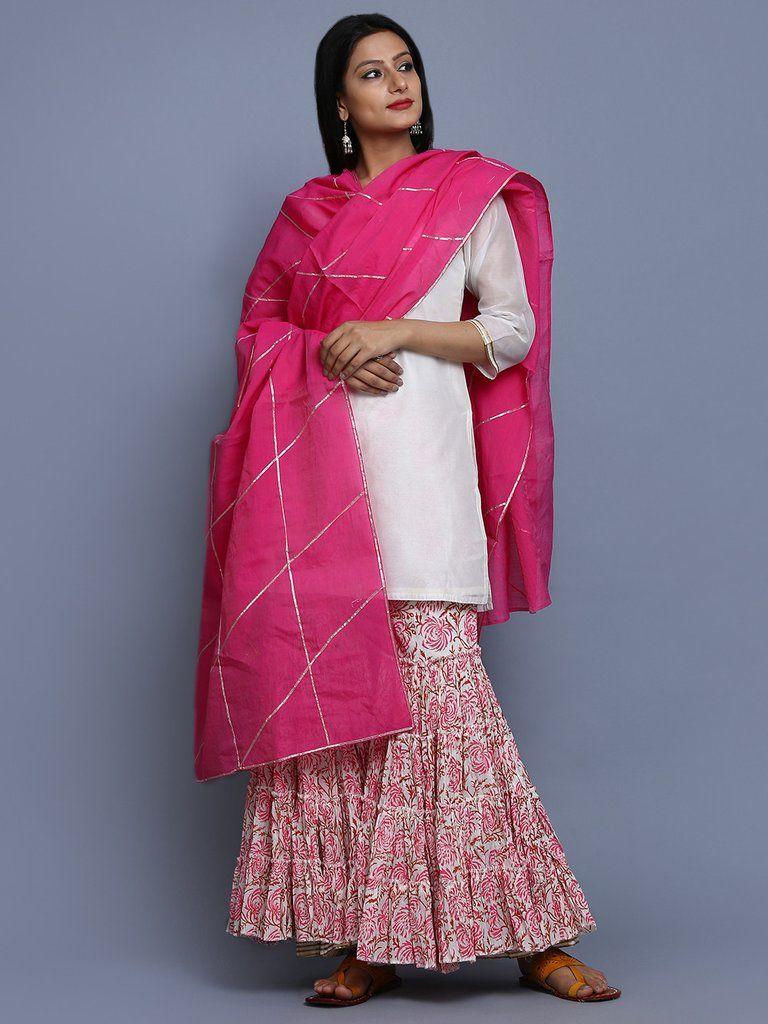 4a7658ec79 Ivory Pink Chanderi Hand Block Printed Sharara Suit - Set of 3 ...