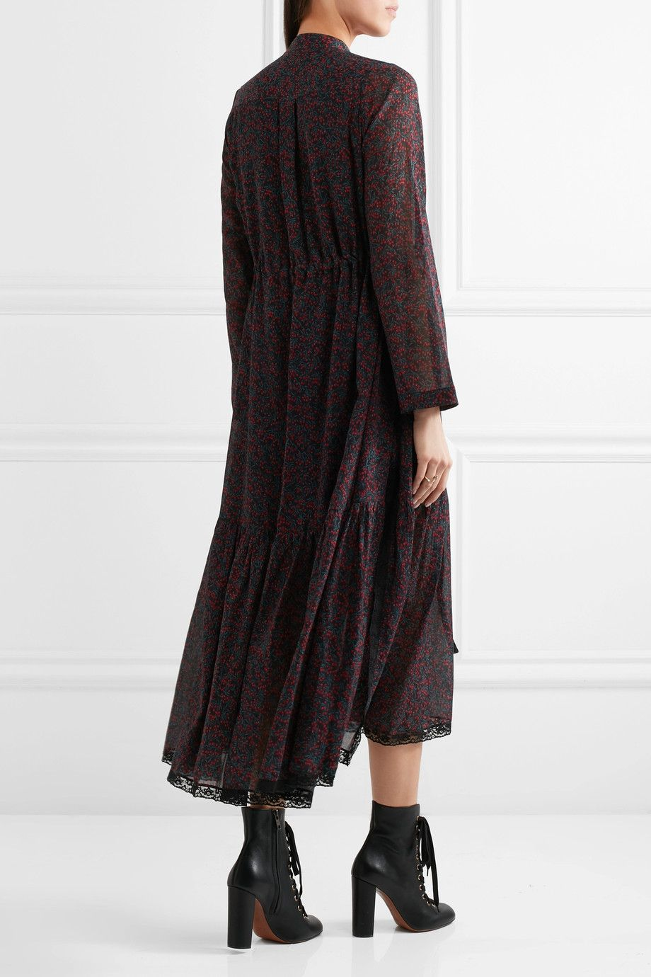 Printed cotton and silk-blend crepon dress Chlo TFHdS