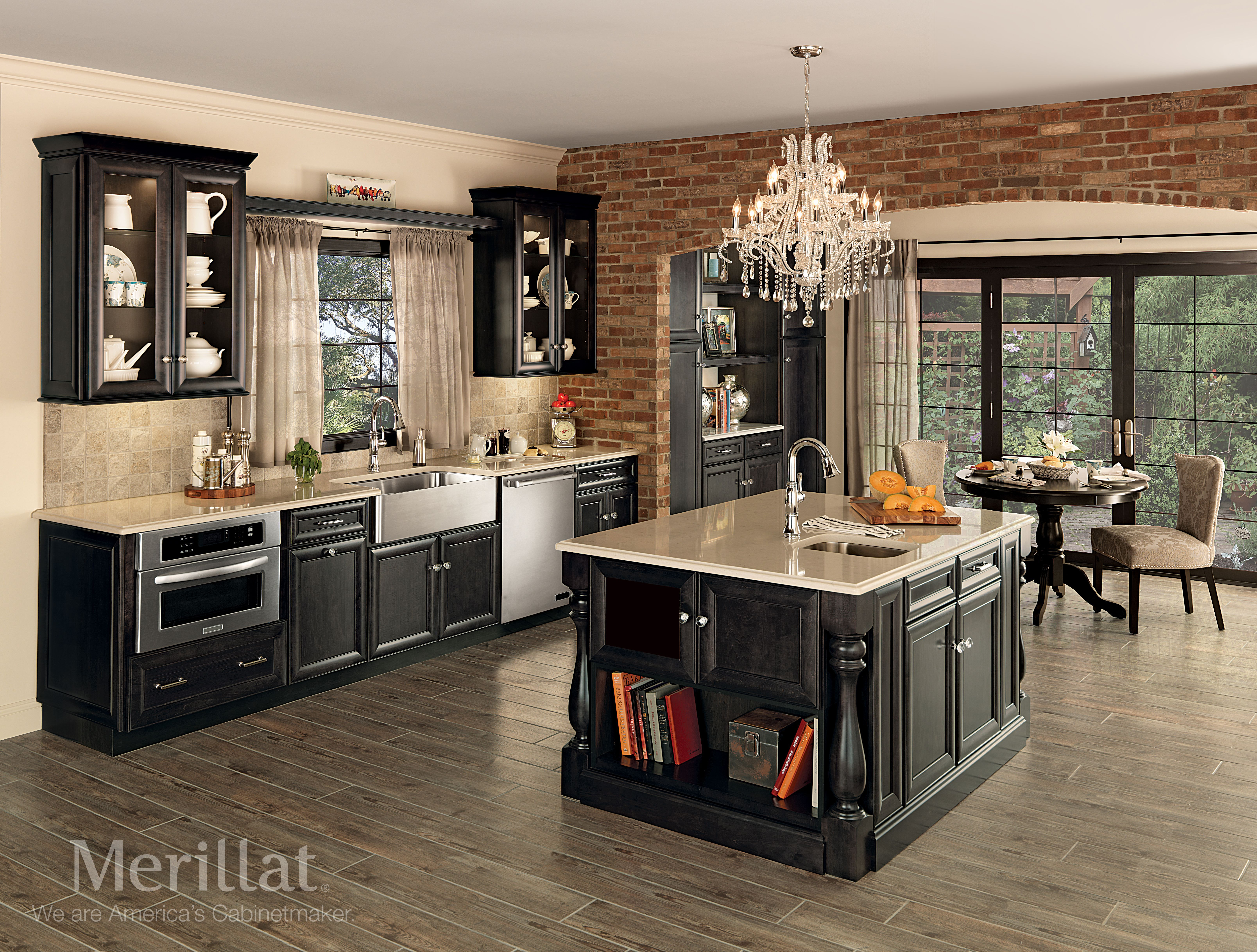 Merillat Classic Bayville In Maple Dusk Merillat Cabinetry This Bourbon Street Inspired Kitchen Mi Galley Kitchen Design Kitchen Remodel Merillat Cabinets