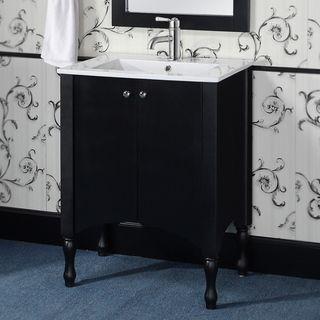 Infurniture Wood Ceramic 24 Inch Black White Bathroom Vanity No Faucet Mirror Size Single Vanities