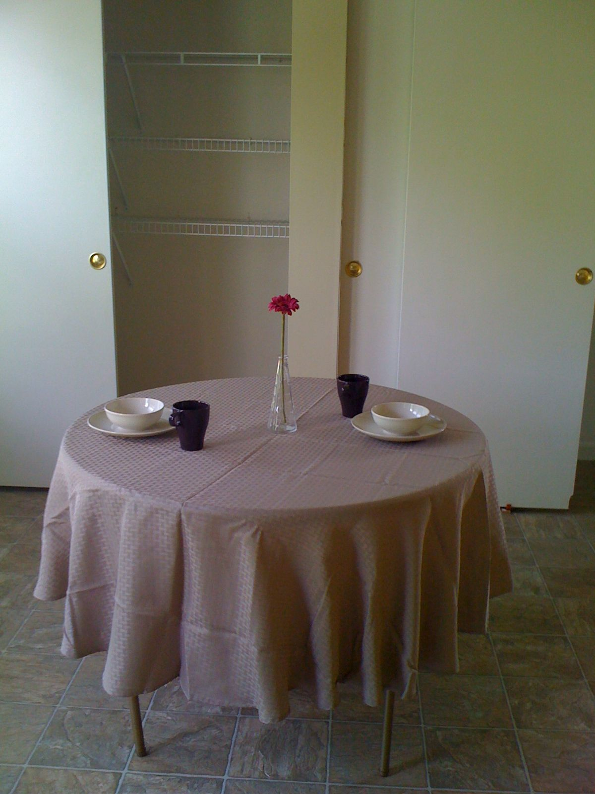 Table for 2? Better than an empty space. Total cost $23 w/ a borrowed folding table.