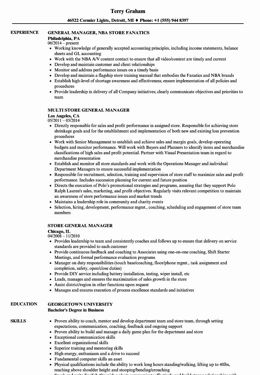 Retail Store Manager Resumes Awesome Resume Examples