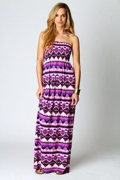 Olivia Printed Shirred Bandeau Maxi Dress, £20
