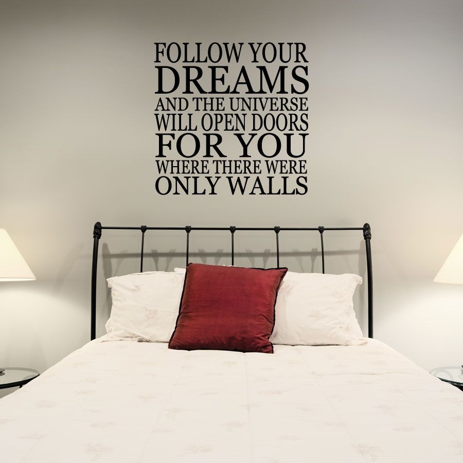 Share us on your network of choice and get 10% off your order! Follow Your Dreams And The Universe... Wall Art Decal