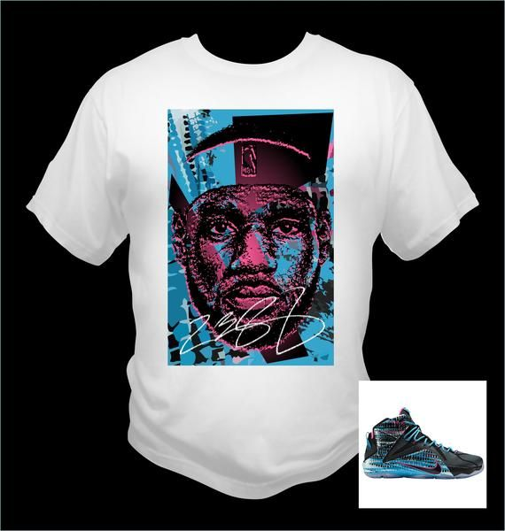 f7e765f32a0a Lebron James 12 T-Shirt Black Pink Pow Blue Lagoon Theme Made to ...