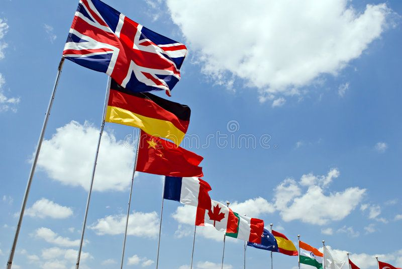 International Flags Waving Flags Representing Different Countries With Blue Sky Ad Waving Flags Internat International Flags Blue Sky Background Flag