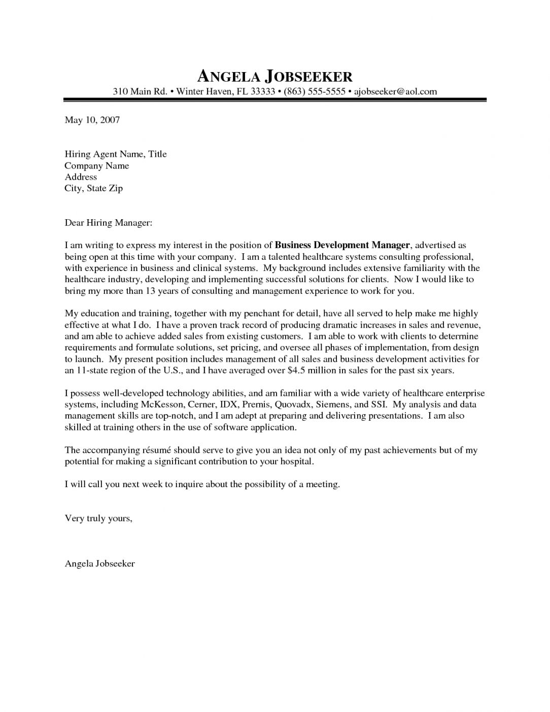 Cover Letter Template Healthcare  2Cover Letter Template