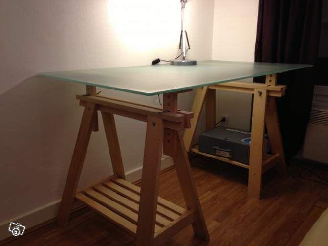 Table bureau ikea traiteaux et plateau en verre leboncoin