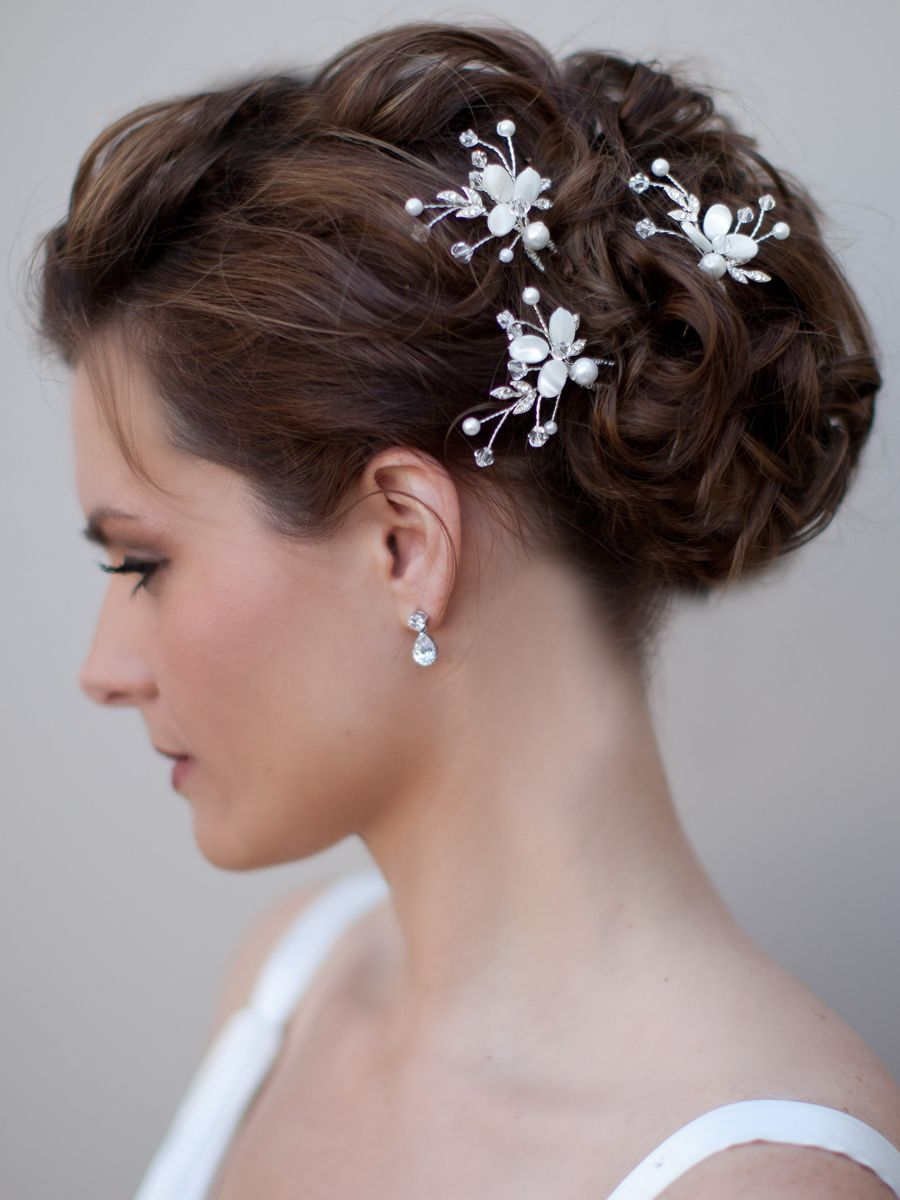 mother of pearl bridal hair pin~ belinda - hair comes the