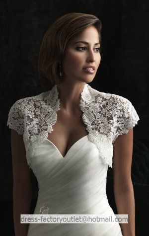 Ivory White Lace Bridal Dress Jacket Short Sleeves Wedding Bolero Size 2 18