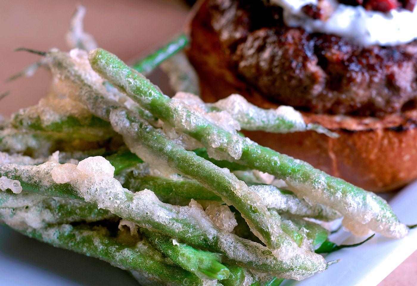 TempuraGreen beans with Lamb Burger -   The Ravenous Pig