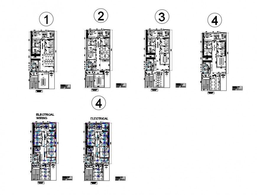 Floor plan of office building and electrical fitting 2d