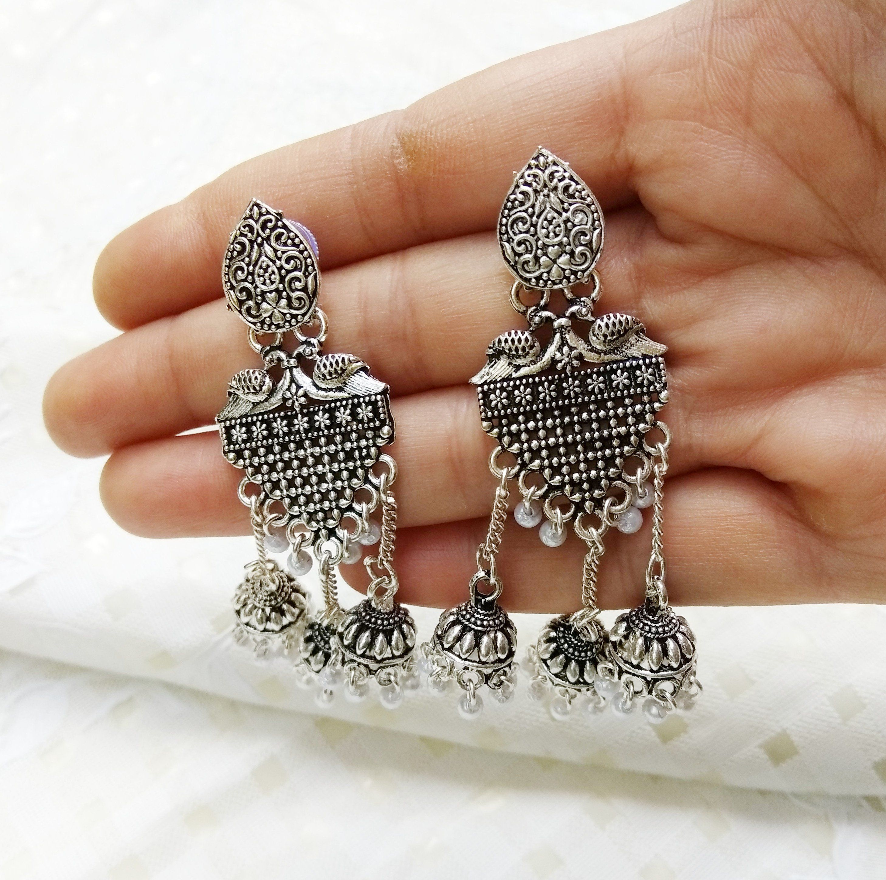Antique Silver Crystal Boho Indian