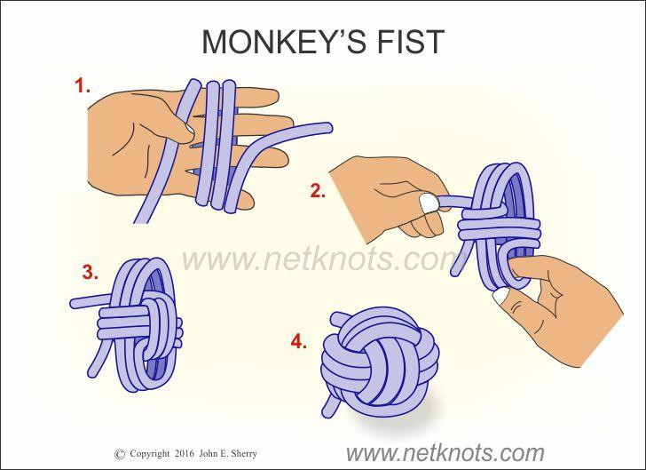 Monkey S Fist How To Tie A Monkey S Fist Knot Animated And Illustrated Monkey Fist Knot Monkey Fist Monkey Knot