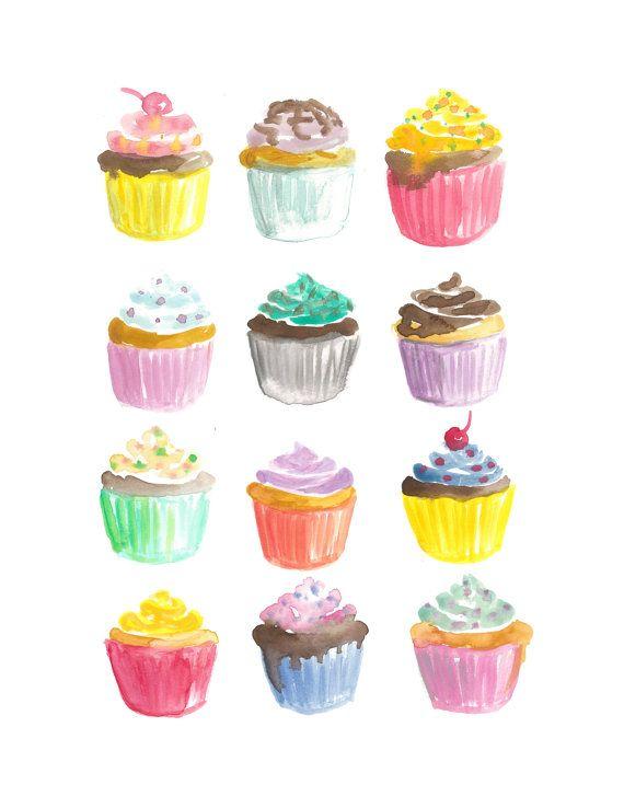 Cupcakes Watercolor Print 8 5 X 11 Cupcake Drawing Watercolor Print Cupcake Painting